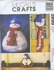HOLIDAY Snowman Doll Door Hanging Draft Dodger SEWING PATTERN 2899 MCCALLS UNCUT