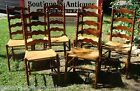 6 ~ Vintage Mid Century Ladder Back Wood Rush Chairs Straw Seat
