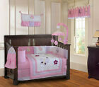 10 Piece Butterfly Dreams Pink Girls Baby Crib Bedding set with Musical Mobile