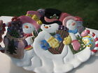 VINTAGE FITZ & FLOYD CLASSICS WHIMISCAL SNOWMAN FAMILY SERVING PLATTER