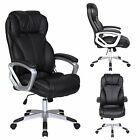 Big & Tall High Back Office Executive Arm Chair PU Leather Computer Desk Black