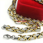 Strong Polish Silver & Gold Tone Charm Men's 316L Stainless Steel Chain Necklace