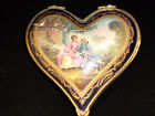 Antique Rare French Sevres Heart Trinket Box Cobalt Blue Gilt Portrait 1700s