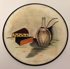 Vintage Wine Cheese Design Dish Round 10 3/4 by Unk Ceramic Plate Serving Tray
