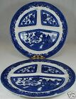 VINTAGE OLD BLUE WILLOW  DIVIDED PLATE/PLATTER PAIR SIGNED