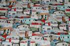 Elizabeth Studio Fabric Vintage Trailers All Over Campers 50's Cars