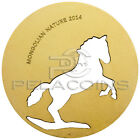 Mongolia 2014 500 Togrog Mongolian Nature - Horse Gold plated Silver Coin