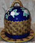 ZRIKE RABBIT PATCH HAND PAINTED CHEESE DOME WITH LID PINK FLOWERS ON BLUE