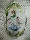 Vintage Porcelain Ceramic Wall Plate Plaque Colonial Woman-  Occupied Japan 7
