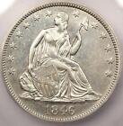 1846 Tall Date Seated Liberty Half Dollar 50C - ICG AU58 - Rare Variety - Nice!