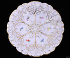 Meissen Porcelain Dish White Molded/Gilded Vine Leaves & Colorful Flower Sprigs