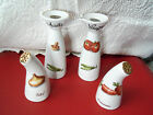 PORCELAIN VINEGAR & OIL CRUETS + matching SALT & PEPPER SHAKERS~DEKOR