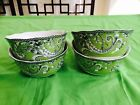 New 222 Fifth ADELAIDE GREEN AND WHITE Soup/Cereal Bowl Set Of 4 Floral Birds