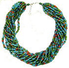 Peacock Blue Red Green Aqua Beaded Necklace and Earring Set w/ Gift Box