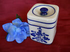 Viana Do Castelo Small Cermaic Lidded Canister Cobalt Blue Floral Signed #bered