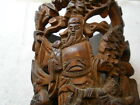 CHINESE LATE QING DYNASTY BRUSH POT WITH WISE OLD MAN