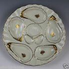 Weimar Gold and Cream Eight Well Oyster Plate - A