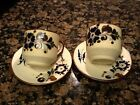 Hand Made Multi-Color Floral Ceramic Cup And Saucer Set For 2  Mexico.