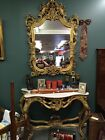 Vtg Labarge French Rococo Carved Wood Gold Gilt Marble Console Table