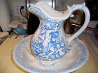 Rare Blue and White Bowl and Pitcher Marked 1974