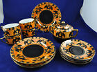 Vintage Lusterware Set Painted Orange Black Halloween Crow Lustre Japan Marked