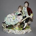 Antique SCHEIBE ALSBACH German PORCELAIN FIGURINE Lady & Man SIGNED Perfect