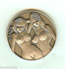 NUDE 2 Sexy Lady Women Antique SILVER Erotic Risque HEADS TAILS FLIP Coin Token