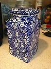 Rare Staffordshire Burleigh Blue Calico Cannister - Burgess & Leigh - MINT!!! #1