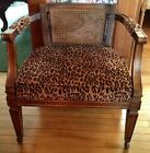 Fun Fabulous Vintage Cane Back Chair on Rollers Cheetah Upholstery w/pillow