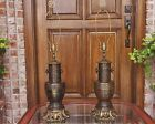 PR MID CENTURY REGENCY ORNATE CHINOISERIE BRASS URN JAR LAMPS FIREBIRD PHOENIX
