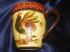 TRADITIONS HAND PAINTED ROOSTER CUP MUG EMBOSSED DOT BROWN EARTH TONE CHICKEN