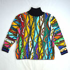 Vtg 90s COOGI Multi Color Cosby Textured Knit Turtleneck Sweater Shirt Mens M