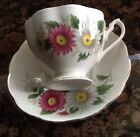 Queen Anne Porcelain white,pink,green Cup & Saucer Daisy Pattern England.