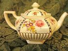 ANTIQUE ENGLISH  Tea Pot Samuel Johnson BRITANNIA POTTERY Floral, Gold w/Black