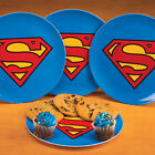 NEW (Set/4) DC Comics Superman Melamine Plates - Superhero Logo Dinnerware Pack