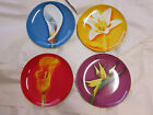 4 Givenchy dessert plates set calla lily bird of paradise orchid lot