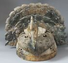 Collected Old Chinese Natural Jade Dynasty Phoenix Coronet Hat Mask Statue