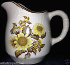 ROYAL WARWICK ENGLAND SUNFLOWER CREAMER 8 OZ YELLOW FLOWERS GOLD TRIM