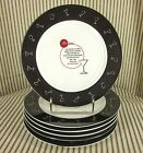 Pottery Barn Set of 6 SIX Retro Bar Classic Vintage Cocktail Appetizer Plates
