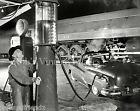 Buick car N&W Railroad train photo Vintage Amoco Gas Service Station 1940-50s
