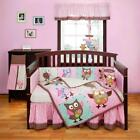 3pc Cute Pink & Blue Colorful Owl Patchwork Designed Baby Girl Crib Bedding Set