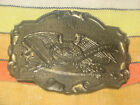 Vintage 2nd Amendment Brass Belt Buckle Right to Bear Arms Bald Eagle 1975 USA