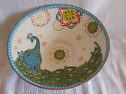 NEW Colorful Boho Chic Peacock Large Ceramic Serving Decor Bowl Aqua Teal Blue a