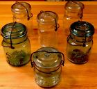 LOT 6 VTG CANNING JARS 1 ATLAS 2 BALL IDEAL BLUE AND 3 CLEAR ORIGINAL GLASS TOPS