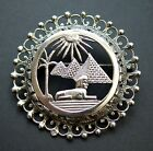 Vintage Egyptian 800 Silver Pin Brooch Pendant with Pyramids of Giza and Sphinx