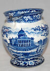 ANTIQUE HISTORIC BLUE AND WHITE STAFFORDSHIRE BOSTON STATE HOUSE PITCHER ROGERS
