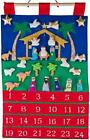 Nativity Navy Fabric Advent Countdown Wall Hanging w Stuffed Removable Figures