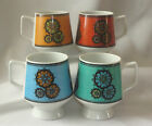 Vintage MC Retro Danish Modern 4 Pedestal Mugs Hot Tottie Tiki Bar Coffee Cups