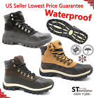 Mens Winter Snow Boots Work Boots Leather Waterproof + Free Socks 2017