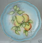 ANTIQUE PLATE HAND PAINTED BABY BLUE YELLOW PEAR FRUIT PIRCED SCALLOPED RIMS